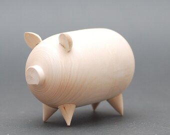 Blank wooden unpainted piggy bank money box Free Shipping plus free gift!