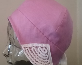 Lilac Linen Spring Cloche with White Vintage Embroidery details and linen lining