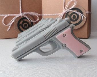 Gun Soap - Pink Target Practice - Mini Pistol Gun Box Gift Set of 4 - Scented Black Raspberry and Vanilla - Gift for Her - Mothers day