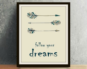 Western Series: Follow Your Dreams - Western Art, Western Decor, Western Print, Longhorn, Western, Western Wall Art, Follow Your Dreams
