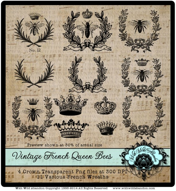 Bee Clipart Queen Vintage French Wreath Crown Sayings SVG AI And EPS Files