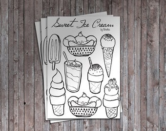Sweet Ice Cream Coloring Book