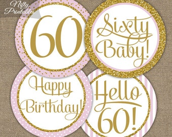 60th Birthday Cupcake Toppers - Sixtieth Birthday Pink & Gold Glitter Printable - DIY Sixty Bday Favor Tags or Stickers - PGL