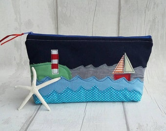 Cosmetic bag, embroidered bag, handmade bag, purse, fabric bag,  zipper pouch, makeup bag, boat bag, gift for her, Cornish gift