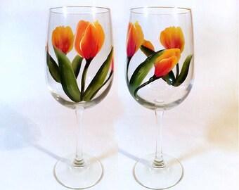 Hand Painted Tulip Wine Glasses Set of 2 orange tulips, bridesmaid gift, teacher gift, wedding gift