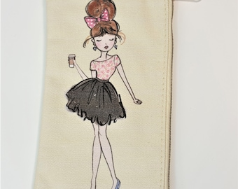 Fashion Girl w Coffee Canvas Zipper Pouch for Planner and more by The Paper Studio- Agenda 52