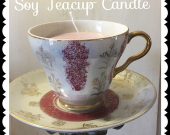 Tea Cup Candle Vintage Bone China Wedding Shower Favor Mother's Day Gift Quick Shipping Soy Candle Unique Gift