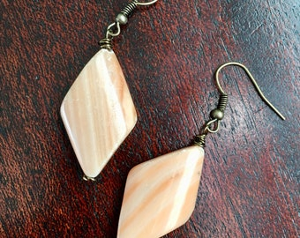 Orange Creamsicle - Red Malachite Earrings - Beveled Diamond Drop Earrings - Orange and Cream - Natural Stone Jewelry - Hand Wire Wrapped