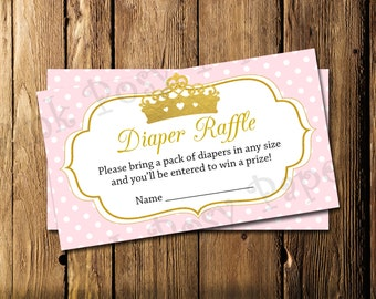 Printable Princess Girl Baby Shower Diaper Raffle Tickets - Instant Download