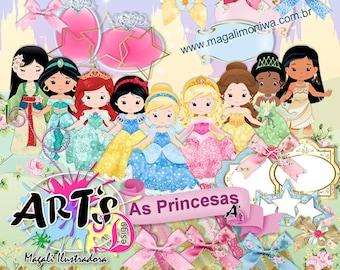 Cute Princess Clip Art /Princess Digital ilustracion / INSTANT DOWNLOAD