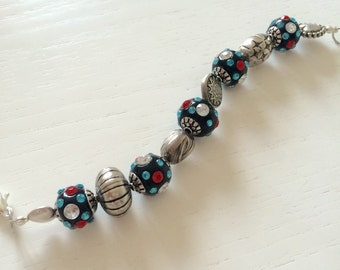 Silver bracelet with pearls indonesia