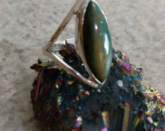 Genuine Peruvian Blue Opal  Ring, Size 10 1/2