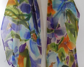 Ciffon Scarf, Floral Oblong Hand Painted Silk in Colors of Purple, Olive, Green, Golden Yellow, and Blue