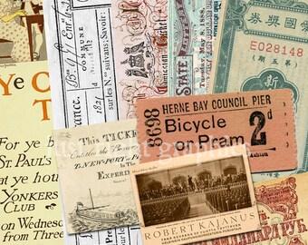 Vintage Tickets Digital Collage Sheet Atc Background Ephemera Clip Art Embellishment