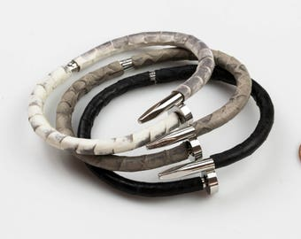 CARTIER STYLE Real Snake Skin Snakeskin Bracelets Snakeskin Bangles on Stainless Rail Nail Bracelet- Skinny- 5mm Thick