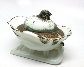 Westmoreland Milk Glass Hatching Chick Sleigh, Mustard Dish, Covered Dish, 1910