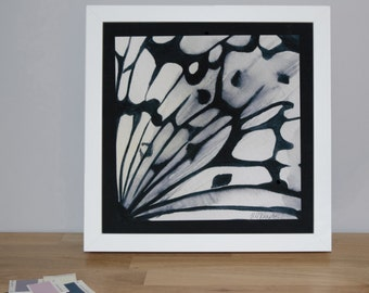 Black and White Butterfly 23cm Watercolour Print  | Signed Glicee Print | 23cm x 23 cm Square | by Hannah Knapton