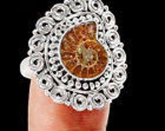 One of a Kind Sterling Silver & Ammonite Fossil Ring size 9