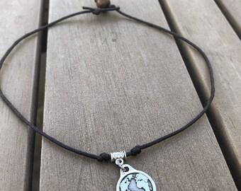 One World Necklace - Vegan Leather One World Choker - Earth Necklace -Minimalist Jewelry - Vegan Necklace
