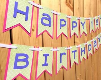 custom lime pink happy birthday banner, banner, birthday banner, happy birthday banner, girl birthday, girl birthday banner, first birthday