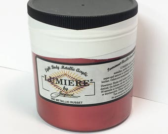 Lumiere Metallic Russet 566 - 8 oz Size - Brilliant Light Body Metallic Acrylic Paint - Art Craft Fabric Canvas Wood Paper Burgundy Red