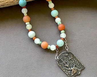 Aqua and Peach Stone Necklace w Deer Pendant Matte Amazonite and Peach Aventurine Soft Pastel Colors w Artisan Pendant Gemstone Jewelry
