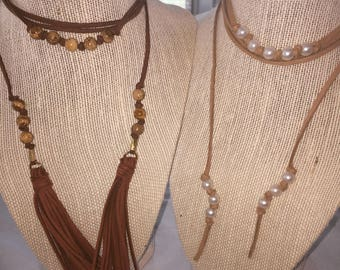 Chestnut Suede wrap necklace with multi tan beads