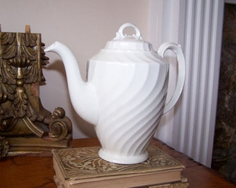 English Ironstone, White Teapot, Burgess and Leigh, Burslem England, Burleigh Ware, White Teapot, Vintage
