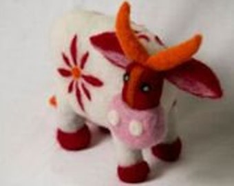 Needle Felted Swiss Cow Wool Felted Red White Pink Swiss Cow Unique gift