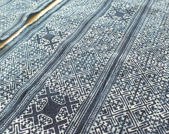 Hmong cotton-Indigo Batik fabric new, textiles and fabrics- From Thailand-Table runner,