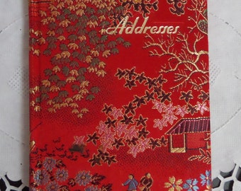 Vintage Asian Theme Small Red Fabric Covered Address and Phone Book