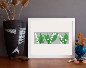 lily of the valley art - garden print - floral wall art - lily of the valley - flower art - Alison Bick - alisonbick - alison bick design