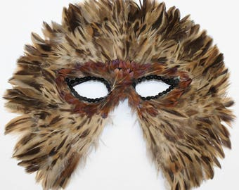 Feather Masquerade Mask, Coxeer Venetian Mask Mardi Gras Mask perfect for Halloween Costume (M52)