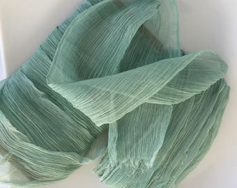 100% pure silk, hand-dyed ribbons in a blue green, silk crinkle chiffon, stationery, weddings, bouquets, gifts, venue styling, hair bows,
