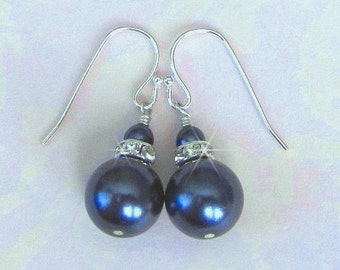 Dark or Teal Blue Bridesmaid Earrings Pearl and Crystal Mother of the Bride, Bridesmaid Gift, Birthday Gift, Wedding Jewelry Sterling Silver