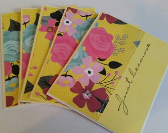 Set of 5  Sewn Handmade Blank Note Cards. Just Because. Thinking of You. Blank Cards. Bulk.