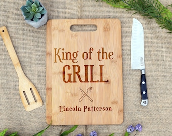 King of the Grill Cutting Board, Father's Day Gift, Present, Grill Master, Grilling, BBQ, Gift for Dad, Father, Gift for Him, Dad Birthday