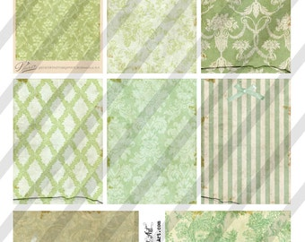 Digital Collage Sheet Victorian Green Background Images (Sheet no. O205) Instant Download