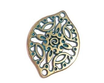 25%OFF Filigree Connector Drop Antique Brass Green Patina w 2 Holes bracelet bead, oval Metal Casting, European zamac 29x22mm TH293 - 1 pc