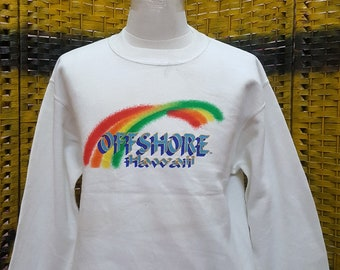 Vintage OFFSHORE HAWAII / rainbow designed / Medium size sweatshirt (LL55)