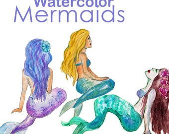 Watercolor Mermaids Clipart Commercial Use