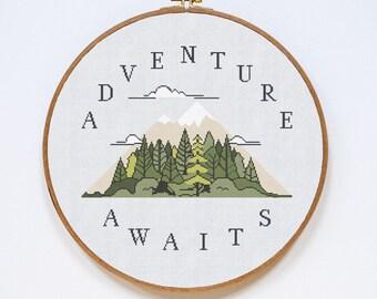 Adventure Cross Stitch Pattern, Adventure Modern Cross Stitch Pattern, Quote Cross Stitch Pattern, PDF Format, Instant Download