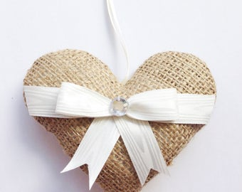 Shabby chic burlap hanging heart, perfect for vintage or rustic home decor, wedding favour