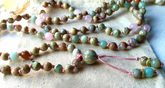African Blue Opal Mala Beads  Peruvian Blue  Rose Quartz Mala  Heart Chakra  Strength  108 Beads  / October Birthstone