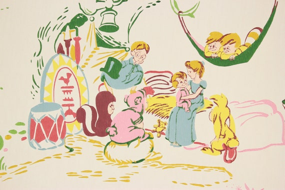 1950s Vintage Wallpaper Walt Disney Peter Pan And Wendy By The Yard From RosiesWallpaper On Etsy Studio