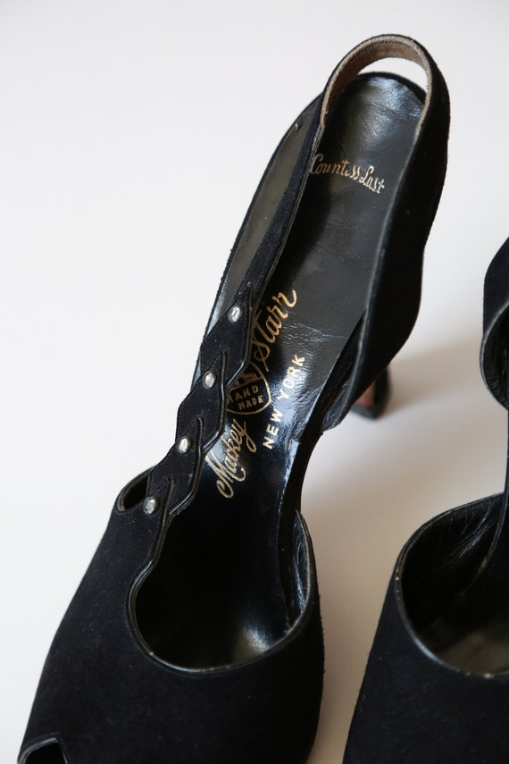 Countess heels jeweled Vintage 50s jeweled leather heels black Rr5qR