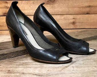 Vintage Italian Designer Costume National Heels Vtg Black Leather Peep Toe Pumps Made in Italy Women's Size 7 1/2 Euro Size 37 1/2