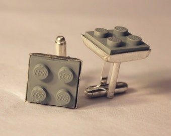 Light Gray Lego Cuff Links - Silver plated