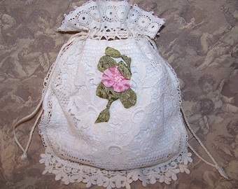 Handmade, Antique Victorian, French, Made in France, FIRST COMMUNION, Purse, Pochette, Pouch, Bag, Cream, Muslin, Lace, Ribbon Floral