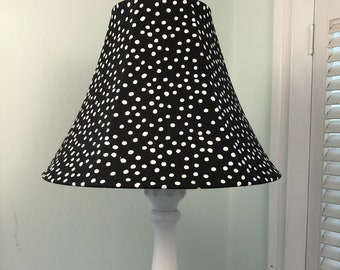 Black and White Lamp Shade, Polka Dot Lamp Shade, Black and White Polka Dot Lamp Shade